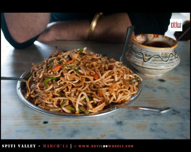 Veg Chowmein served to us at Golu Dhabha at Puh