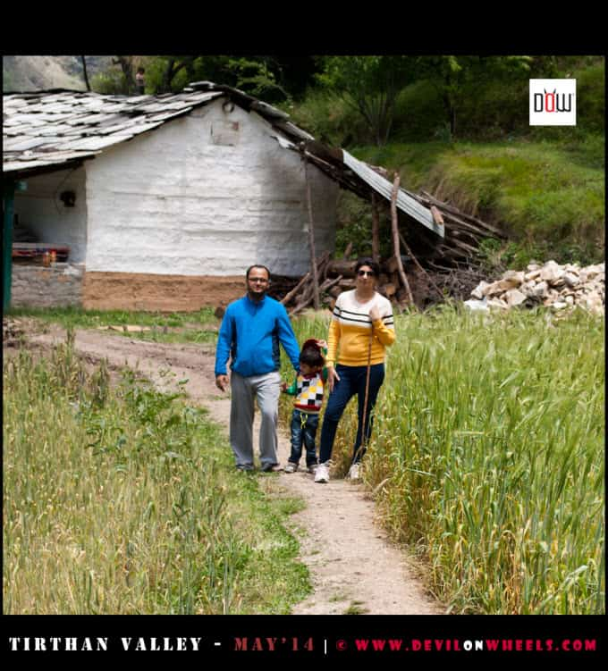 Trek to waterfall in Tirthan Valley with Family