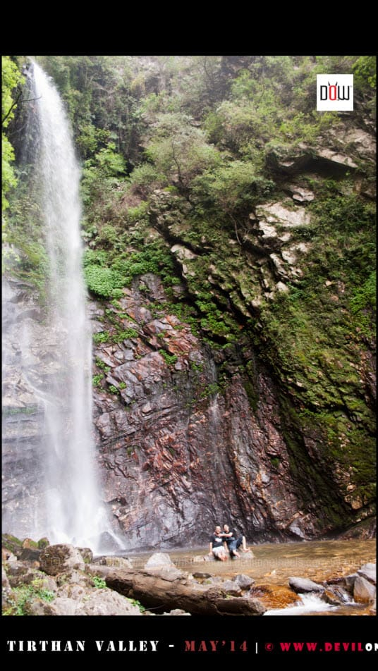The waterfall in Tirthan Valley