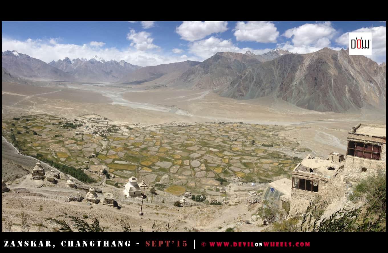 Aerial view of Stongde in Zanskar Valley
