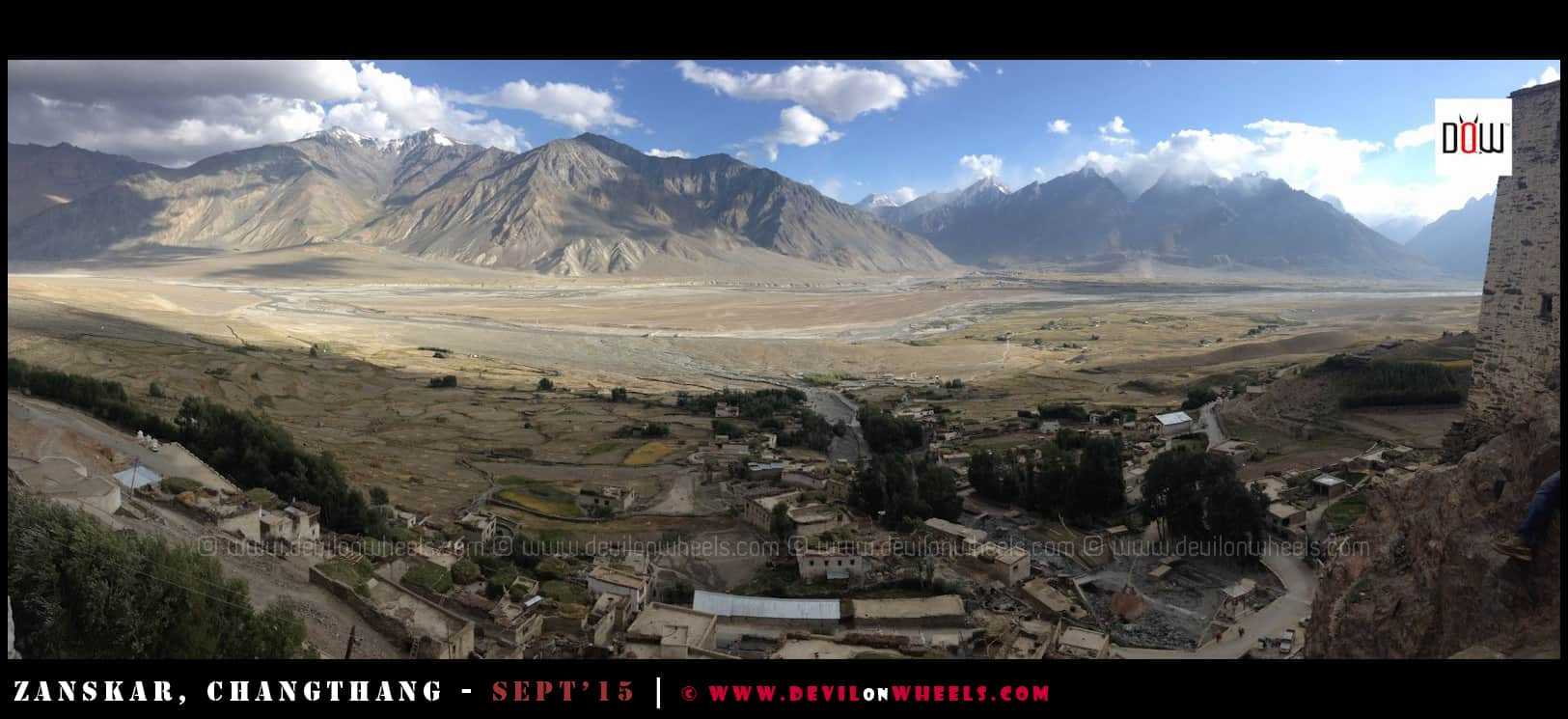 Aerial view from Karsha Monastery at Padum, Zanskar Valley