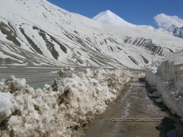 Snow between Chota Dhara and Batal in Spiti Valley